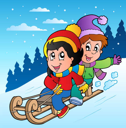 snow cap: Winter scene with kids on sledge - vector illustration.