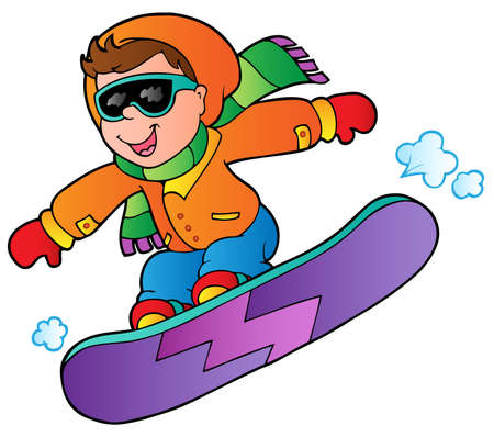 sporting activity: Cartoon boy on snowboard illustration.