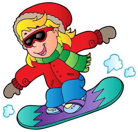 wintertime: Cartoon girl on snowboard illustration.
