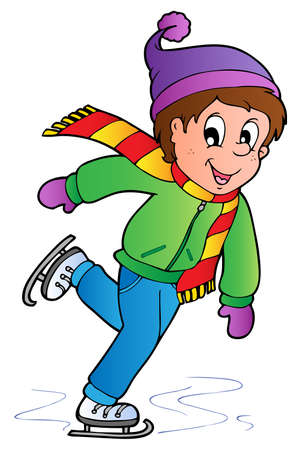seasonal clothes: Cartoon skating boy illustration. Illustration