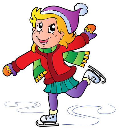 Cartoon skating girl illustration. Vector