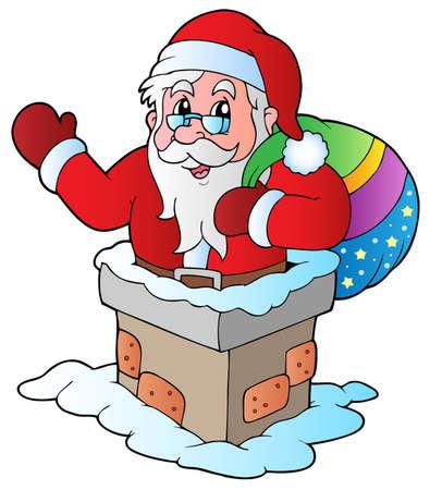 clipart chimney: Christmas Santa Claus 5 - vector illustration. Illustration