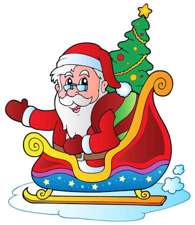 snow sled: Christmas Santa Claus  illustration.