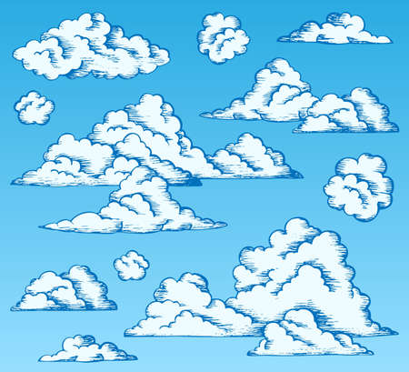 Clouds drawings on blue sky 1 - vector illustration. Stock Vector - 11505371