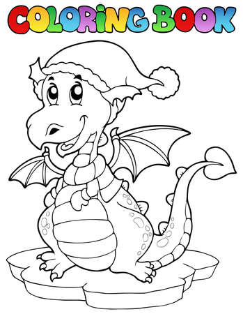 Coloring book cute winter dragon  illustration. Vector