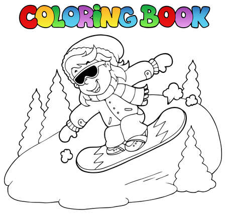 snowboard: Coloring book girl on snowboard  illustration.