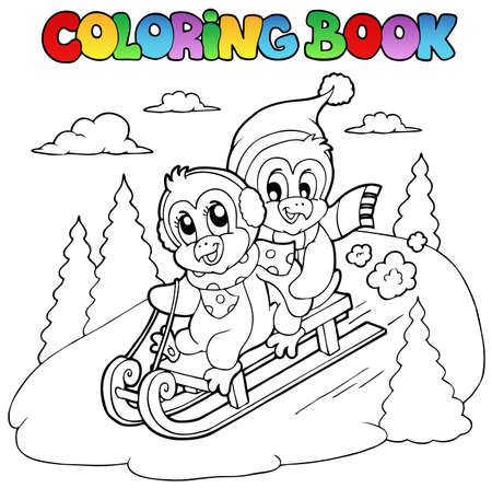 Coloring book penguins sledging illustration. Vector