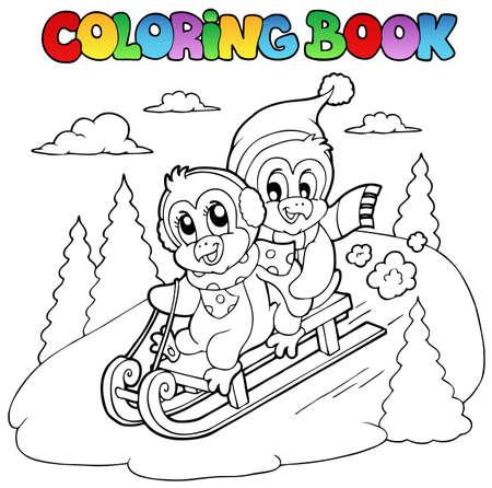 hillside: Coloring book penguins sledging illustration.