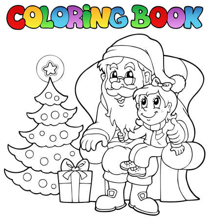 tree outline: Coloring book Santa Claus theme illustration.