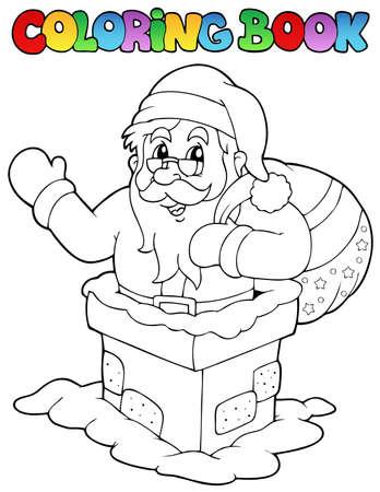 Coloring book Santa Claus theme illustration. Stock Vector - 11505363