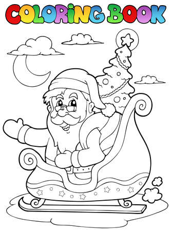 Coloring book Santa Claus theme  illustration. Vector