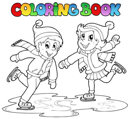 Coloring book skating boy and girl  illustration.