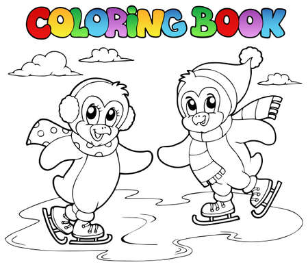 Coloriage patinage livre pingouins illustration.