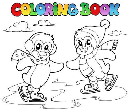 Coloring book skating penguins illustration. Vector