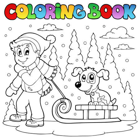 dog sled: Coloring book winter theme illustration. Illustration