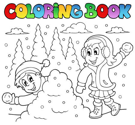 Coloring book winter theme illustration. Vector