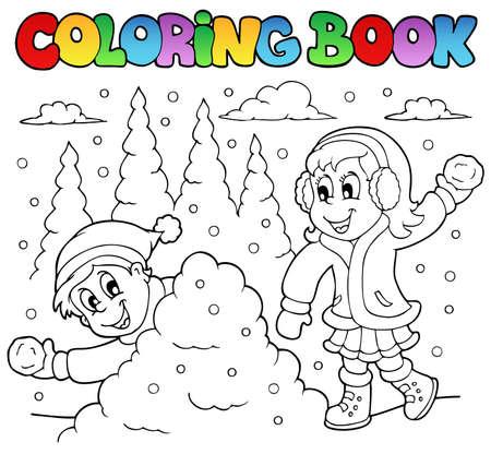 libro caricatura: Invierno, libro para colorear ilustraci�n tema.