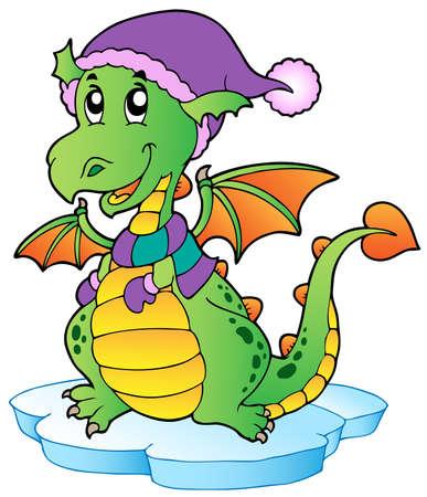 wyvern: Cute winter dragon illustration.