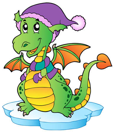 fairytale character: Cute winter dragon illustration.