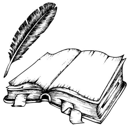 Drawing of opened book with feather illustration. Vector