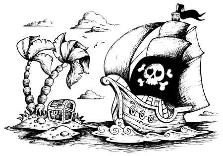 historical ship: Drawing of pirate ship 1 - vector illustration.