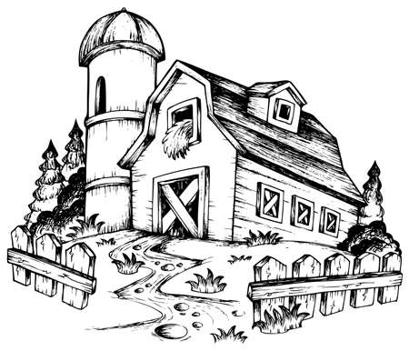 barnyard: Farm theme drawing illustration. Illustration