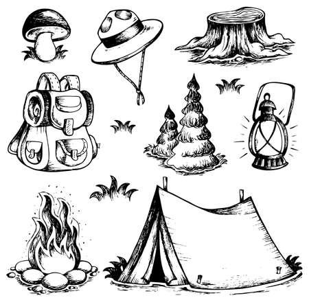 obóz: Odkryty zbiór rysunków motyw - ilustracji wektorowych. Ilustracja