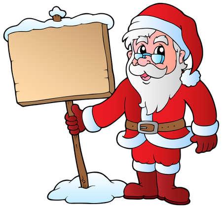 Santa Claus holding wooden board illustration. Vector