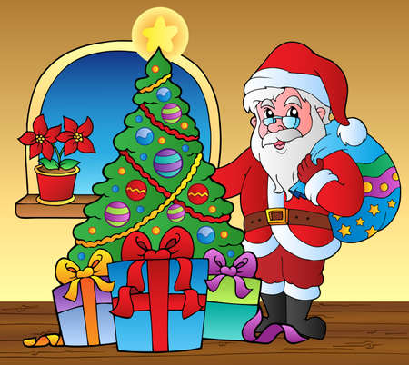 christmas room: Santa Claus indoor scene 5 - vector illustration.