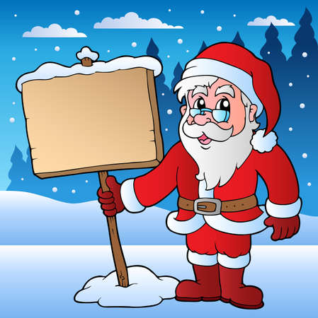 Scene with Santa Claus and board illustration. Vector