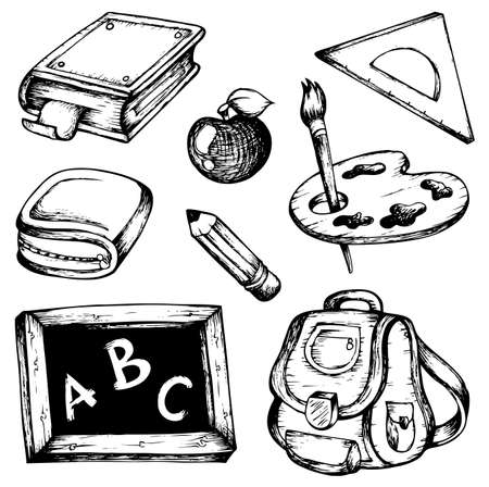 book case: School drawings collection 1 - vector illustration.