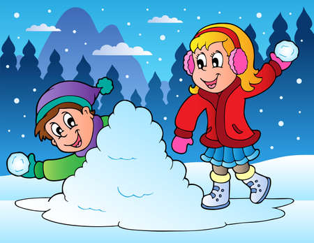 snow cap: Two kids throwing snow balls - vector illustration.