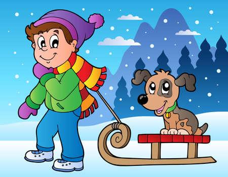 Escena de invierno con el muchacho y trineo - ilustración vectorial.