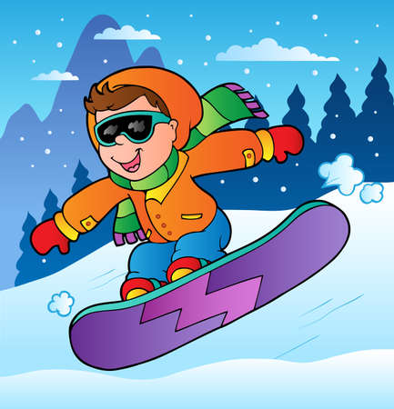 Winter scene with boy on snowboard illustration. Vector