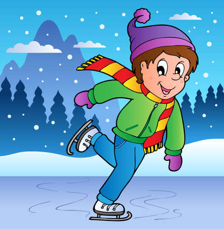 snowing: Winter scene with skating boy illustration. Illustration