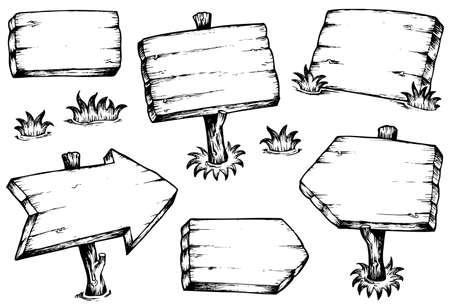 Bois planches de dessins collection - illustration vectorielle.