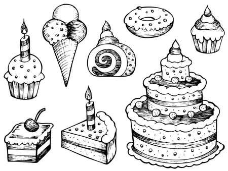 art piece: Cakes drawings collection - vector illustration.