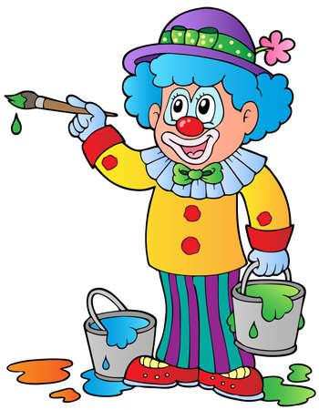 Cartoon clown artist - vector illustration. Illustration