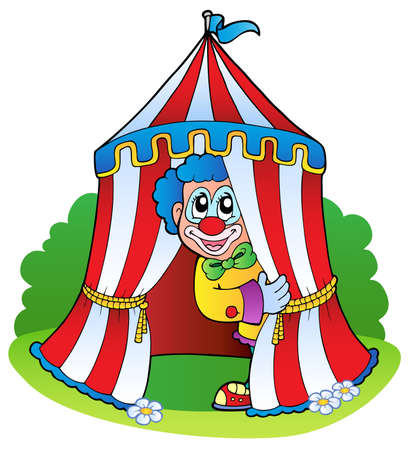 circus performer: Cartoon clown in circus tent - vector illustration.