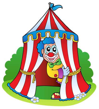 payasos caricatura: Payaso de la historieta en la carpa de circo - ilustraci�n vectorial.