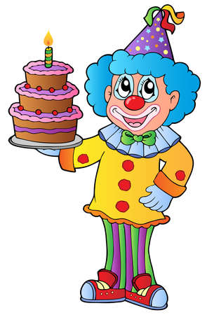 Cartoon clown with cake - vector illustration.