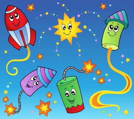 Cartoon fireworks theme 2 - vector illustration. Stock Vector - 11654787