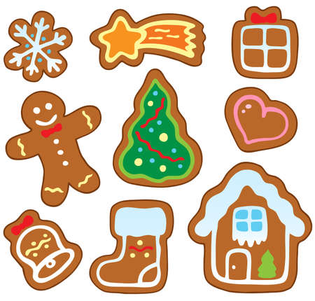 christmas cookie: Christmas gingerbread collection 1 - vector illustration.
