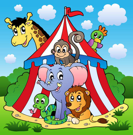 camelopard: Circus theme picture 1 - vector illustration.