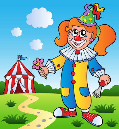 performers: Clown theme picture 3 - vector illustration.