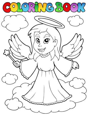 angels in heaven: Coloring book angel theme image 1 - vector illustration.