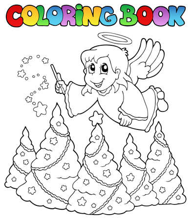 angel tree: Coloring book angel theme image 2 - vector illustration.
