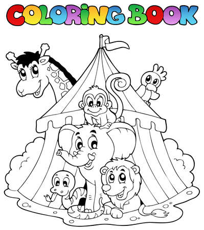 camelopard: Coloring book animals in tent - vector illustration.