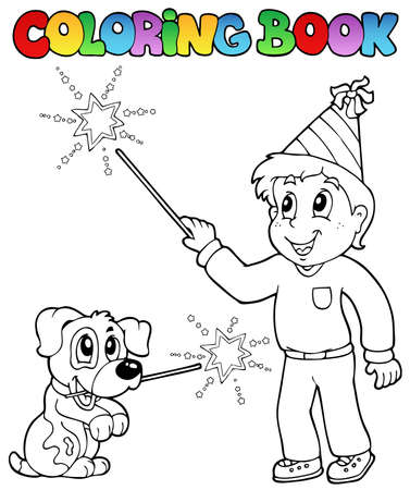 Coloring book boy with sparkler - vector illustration. Vector