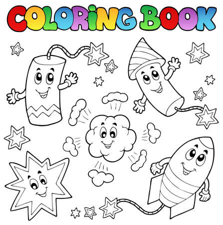 libro caricatura: Colorear los fuegos artificiales libro el tema 1 - ilustración vectorial.